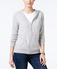Charter Club Cashmere Zip Front Hoodie Only At Macy's Heather Crystal
