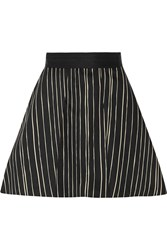 Alice Olivia Libby Striped Cotton Blend Mini Skirt Black