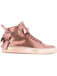 Buscemi Snakeskin Effect Hi Top Sneakers Pink And Purple