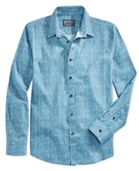American Rag Men's Marbled Pattern Long Sleeve Shirt Only At Macy's Blue Aire