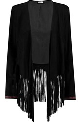 Talitha Embroidered Fringed Suede Jacket Black