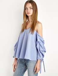 Pixie Market Blue Off The Shoulder Balloon Sleeve Top