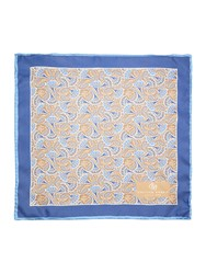 Chester Barrie Silk Floral Pocket Square Blue
