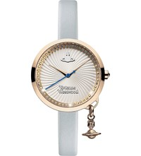 Vivienne Westwood Vv139rsbl Time Machine Stainless Steel And Leather Watch Silver