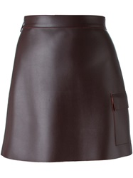 Msgm Patch Pocket Faux Leather Skirt Red