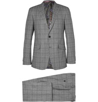 Etro Grey Checked Wool Suit Gray