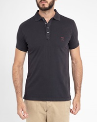 Diesel Black T Alex Short Sleeve Polo Shirt With Navy White Trim