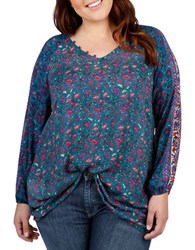 Lucky Brand Plus Patterned Blouse Turquoise