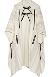 3.1 Phillip Lim Leather Trimmed Wool Blend Poncho Ivory