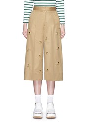 Muveil Jewel Banana Embellished Twill Culottes Brown