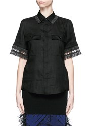 Toga Archives Fringe Linen Shirt Black