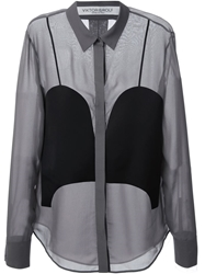 Viktor And Rolf Panelled Sheer Shirt Grey