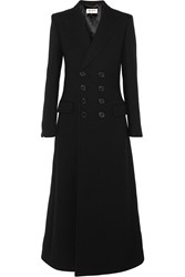Saint Laurent Double Breasted Wool Twill Coat Black