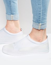 Asos Slip On Trainers In White Neoprene With Elastic White