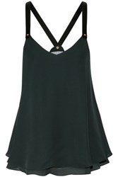 Derek Lam 10 Crosby By Stud Embellished Layered Silk Camisole Dark Green