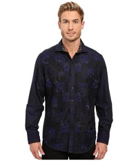 Robert Graham Limited Edition Long Sleeve Woven Shirt Navy Men's Long Sleeve Button Up