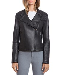 Bagatelle. City Lamb Leather Quilted Moto Jacket Black