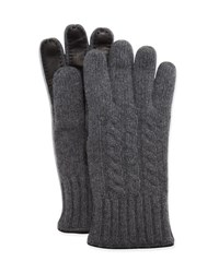 Bergdorf Goodman Cable Knit Cashmere And Leather Gloves Charcoal