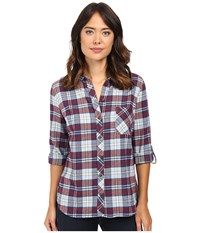 Kut From The Kloth Kayla Blue Red Women's Long Sleeve Button Up
