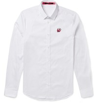 Mcq By Alexander Mcqueen Slim Fit Stretch Cotton Blend Poplin Shirt White