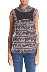 Women's See By Chloe Floral Stripe Sleeveless Blouse