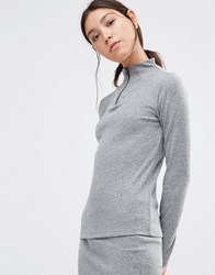 Pieces Pica Ribbed Sweater Dark Grey Melange