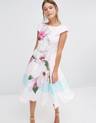 Ted Baker Bromlie Prom Dress In Pink Magnolia Print 57 Nude Pink