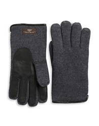 Ugg Mixed Media Faux Fur Lined Gloves Charcoal Grey