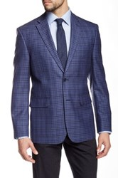 Vince Camuto Blue Gingham Two Button Notch Lapel Modern Fit Silk Blend Jacket