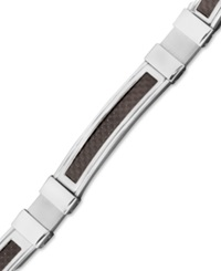 Macy's Men's Stainless Steel And Black Carbon Fiber Bracelet Rectangle Link