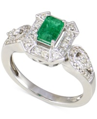 Macy's Emerald 1 2 Ct. T.W. And Diamond 1 3 Ct. T.W. Ring In 14K White Gold