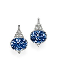 Judith Ripka Sterling Silver La Petite Oval Earrings With Lab Created Blue Corundum And White Sapphire Blue Silver
