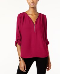 Inc International Concepts Roll Tab Zip Trim Blouse Only At Macy's Real Red
