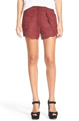 Leith Faux Leather Shorts Burgundy Beauty