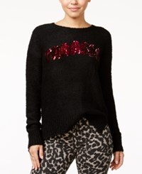 Ohmg Oh Mg Juniors' Yaasss Sequin Pullover Sweater Black Red