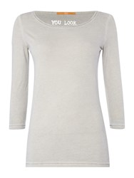 Hugo Boss Jersey Top With 3 4 Sleeve Charcoal