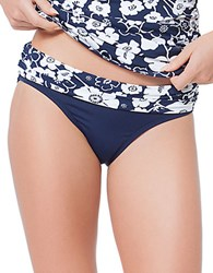 Anne Cole Floral And Solid Swim Bottom Navy