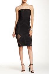 Wow Couture Strapless Mesh Bandage Dress Black