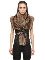 Rick Owens Hun Kangaroo Leather And Fisher Fur Wrap