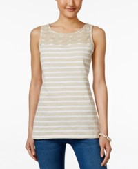 Charter Club Petite Striped Crochet Detail Tank Top Only At Macy's Sand