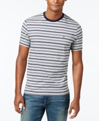 Tommy Hilfiger Men's Big And Tall Hunter Striped T Shirt Light Grey Heather Navy Blazer