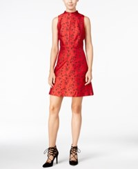 Kensie Printed Mock Neck A Line Dress Ruby Red Combo