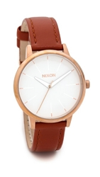 Nixon Kensington Leather Watch Brown Rose Gold