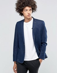 Asos Skinny Blazer In Denim Denim Blue