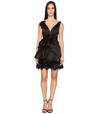 Marchesa Satin Faced Organza Cocktail With Plunging Neckline And Laser Cut Organza Flowers Black