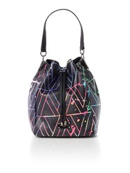 Paul's Boutique Patent Maisy Black Medium Rounded Tote Bag Multi Coloured Multi Coloured