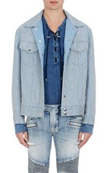 Balmain Men's Embellished Trucker Jacket Light Blue