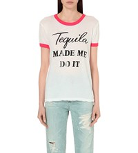 Wildfox Couture Tequila Hour Cotton Jersey T Shirt Clean White Poppy Red