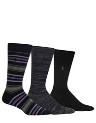 Polo Ralph Lauren Three Pack Striped Socks Black