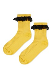 Topshop Lace Trim Ankle Socks Mustard